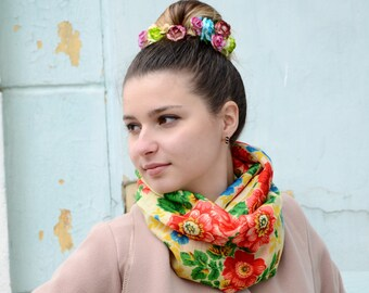 Infinity floral scarf circle loop scarf white floral Shawl folk hippie boho Russian Floral Scarf infinity scarf women Gift For Women