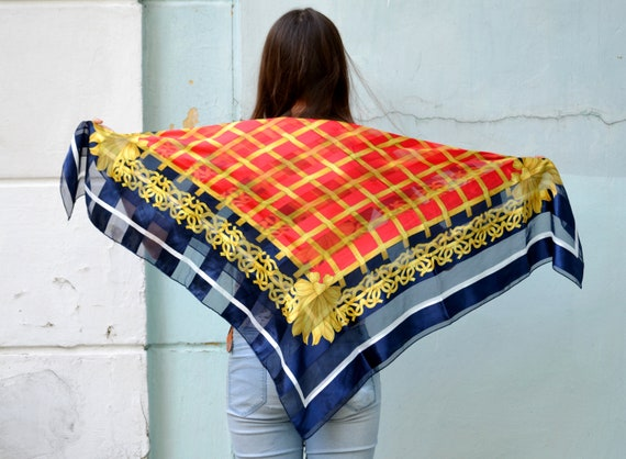 Vintage red blue gold scarf, Large square scarf, B