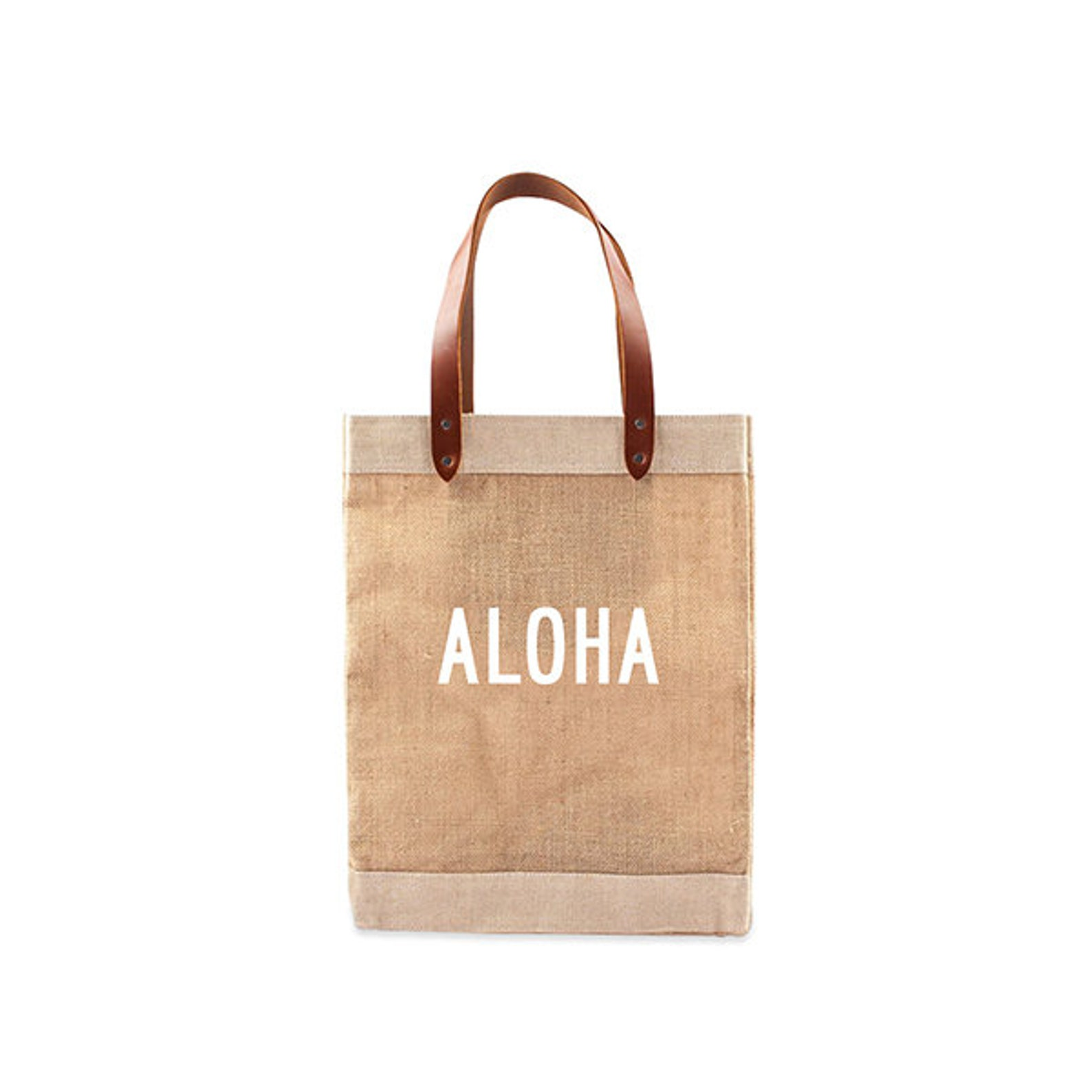Brown shopping bag with white Aloha lettering, perfect for buying local groceries such as tropical fruit jams, tea and macadamia nuets