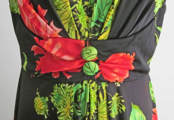Red, Green and Black Sleeveless Maxi Dress Vintag… - image 2