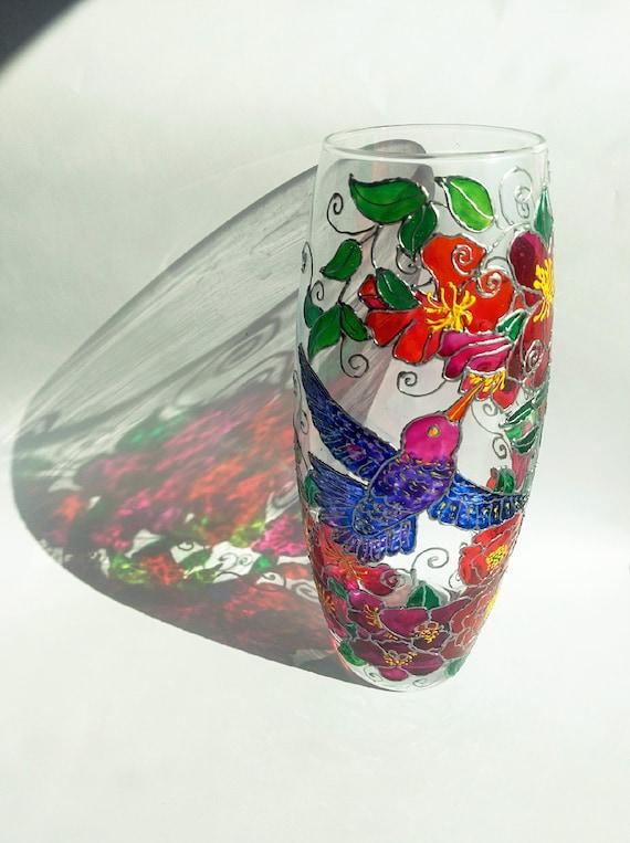 Hummingbird Vase Anniversary Gift Handpainted Glass Vase Etsy
