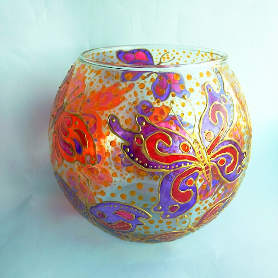 Butterfly Vase Hand Painted Glass Vase Spherical Glass Vase Etsy