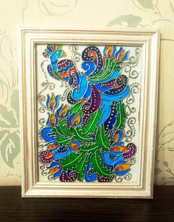 Peacock Gift Peacock Glass Painting Peacock Wall Art Gift Etsy
