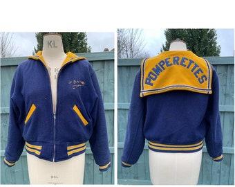 Vintage Cheer Sweater 1960's Cheerleader Yellow Navy Letter