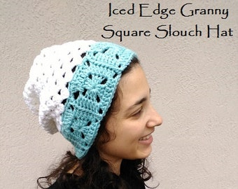 CROCHET PATTERN - Iced Edge Granny Square Slouch Hat Crochet Pattern, Women's Hat Pattern, Women's Slouch Hat Pattern, Easy Crochet Pattern