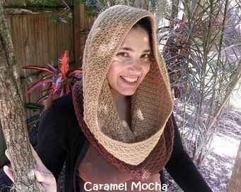CROCHET PATTERN - Large Mocha Caramel Slanted Shell Cowl - Large Cowl Crochet Pattern - Permission to Sell Finished Items