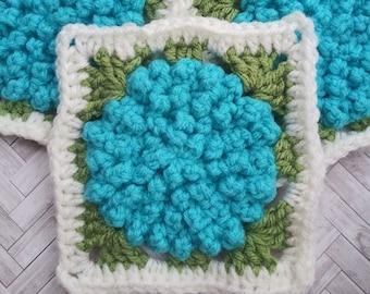 CROCHET PATTERN - Endless Summer Afghan Square Crochet Pattern, Flower Crochet Pattern, Crochet Flower Pattern, Crochet Square Pattern