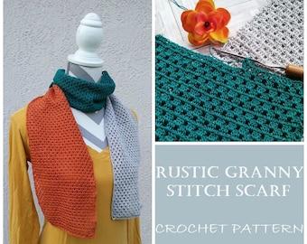 CROCHET PATTERN - Rustic Granny Stitch Scarf, Granny Stitch Scarf Pattern, 10 Crochet Thread Pattern, Lightweight Scarf Pattern, Summer Scar