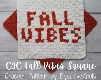 Fall Crochet Pattern, C2C Crochet Pattern, C2C Fall Vibes Square, Crochet Decor Patterns, Farmhouse Fall Decor, Fall Vibes Decor