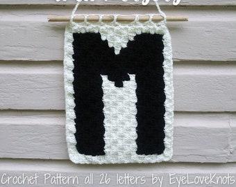 C2C Crochet Pattern, C2C Alphabet Wall Hanging, Crochet Wall Hanging, Crochet Decor Pattern, Corner to Corner Letter, Nursery Wall Hanging