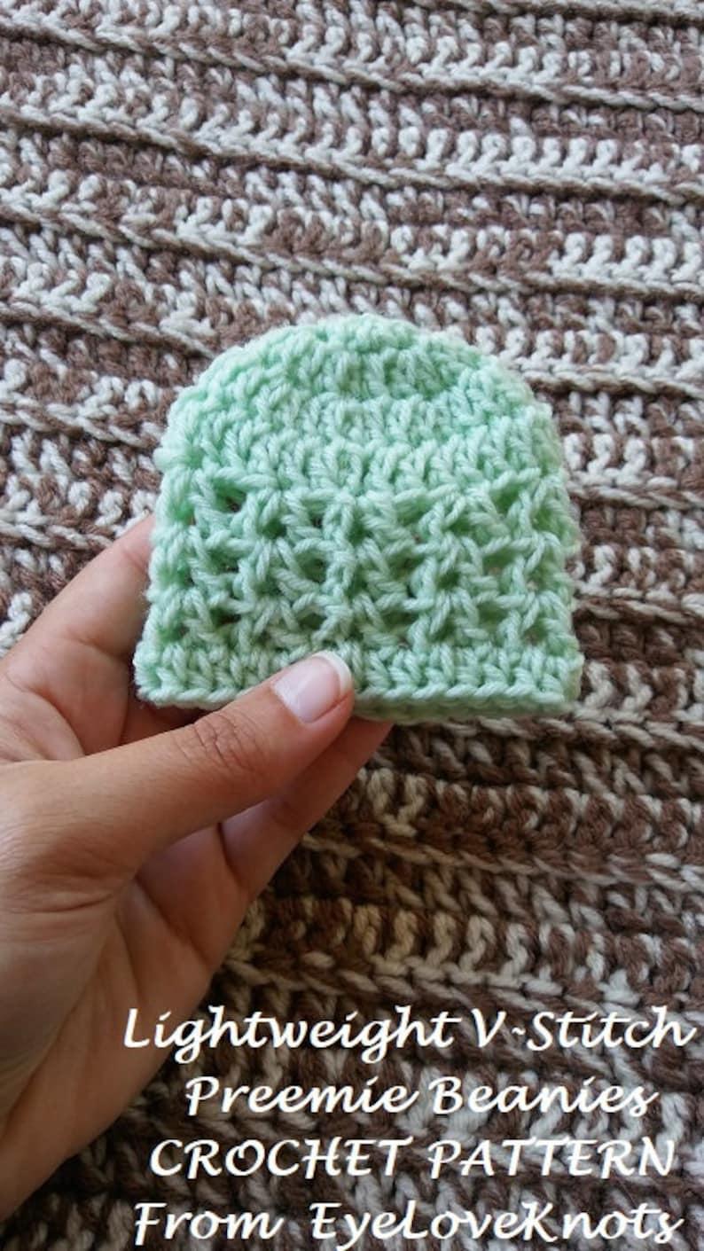 CROCHET PATTERN Lightweight V-Stitch Preemie Beanies Easy  01813936949