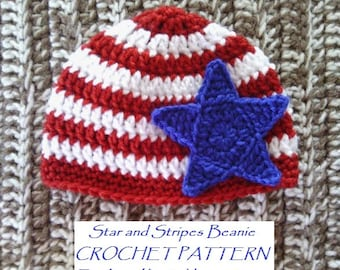 CROCHET PATTERN - Star and Stripes Beanie in 3 Baby Sizes - Patriotic Baby Beanie Crochet Pattern - Permission to Sell Finished Items