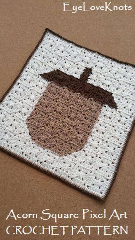 Crochet Pattern Acorn Square Pixel Art Granny Square Fall Decor Tutorial Fall Granny Square Tutorial Fall Wall Art Tutorial