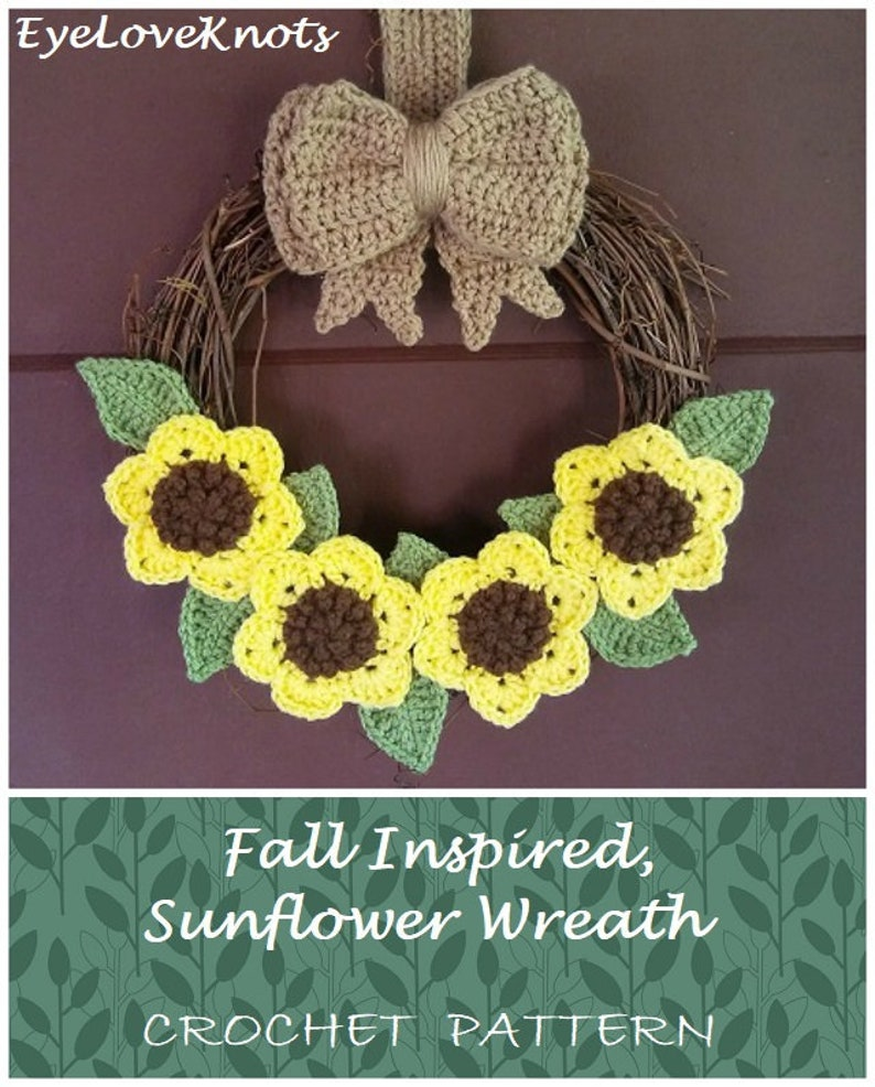 crochet pattern  Sunflower Wreath DIY Fall Sunflower Wreath image 0