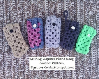CROCHET PATTERN - Granny Square Phone Cozy - Easy/Intermediate Crochet Pattern - Permission to Sell Finished Items