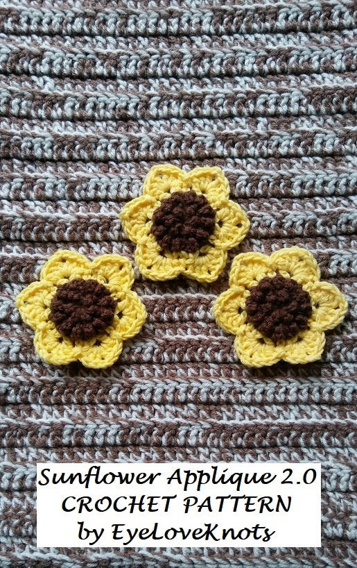 Crochet Pattern Sunflower Applique 2 0 Crochet Sunflower