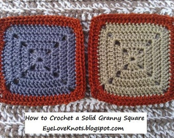 CROCHET PATTERN - How to Crochet a Solid Granny Square - Easy Crochet Pattern - PDF - Permission to Sell Items