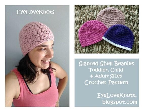 Crochet Pattern Slanted Shell Beanies Toddler Beanie Etsy