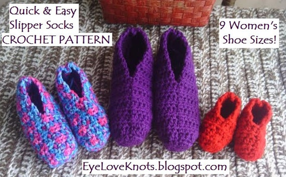 CROCHET PATTERN - Quick & Easy Slipper Socks in 9 Women's Sizes - US Women's Shoe Sizes - Women's Slippers Crochet Pattern