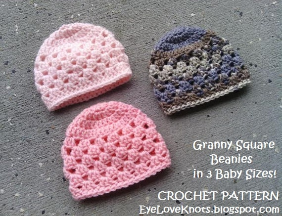 Crochet Pattern Granny Square Baby Beanie Crochet Pattern In 3