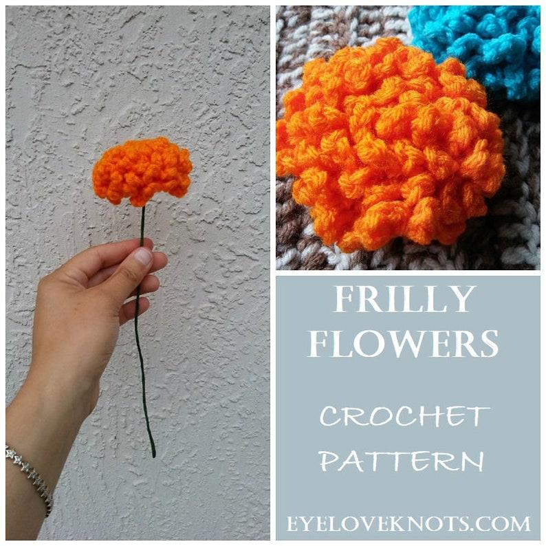 CROCHET PATTERN  Frilly Flowers Crochet Pattern Bouquet image 0