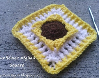 CROCHET PATTERN - Sunflower Afghan Square Crochet Pattern - Advanced Beginner Crochet Pattern - Permission to Sell Finished Items
