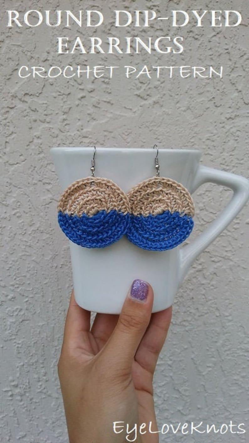 CROCHET PATTERN  Round Dip-Dyed Earrings Crochet Pattern image 0