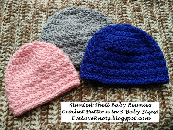 CROCHET PATTERN Slanted Shell Baby Beanies In 40 Baby Sizes Etsy Magnificent Baby Beanie Crochet Pattern