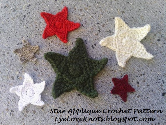 Crochet Pattern Star Applique In 6 Sizes Easy Crochet Etsy