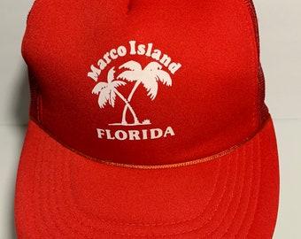 1ea40ad60f0 Marco Island Florida Vintage Trucker Hat Mesh Foam Snapback