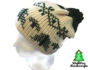 Pine Tree Double Brim Slouchy Hat With Pom Pom (All sizes)