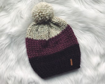 18429db2da5 Color Blocked Hat with Pom Pom    The SEQUIM    Chunky Knit Beanie     Charcoal