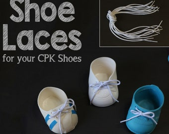 1 pair White SHOE LACES STRINGS for Cabbage Patch Kids Doll Designer Line Hightop Tennis Toddler Weebok
