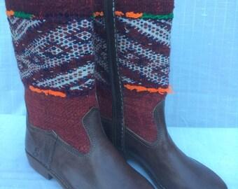 Handmade vintage kilim boots.