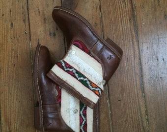 Handmade leather, vintage kilim,  booties EU 39 US 8