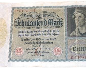 1922 German 10,000 Mark Reichsbanknote