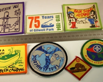Seven 1990's Scouting Cloth Patches
