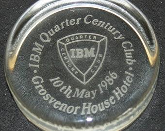 1986 IBM Glass Paper weight