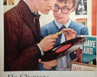 Vintage Ad Beechnut Gum Be Choosy 1950s Back to School Retro Teens Vintage Teenagers Record Shop Beech-Nut Chewing Gum