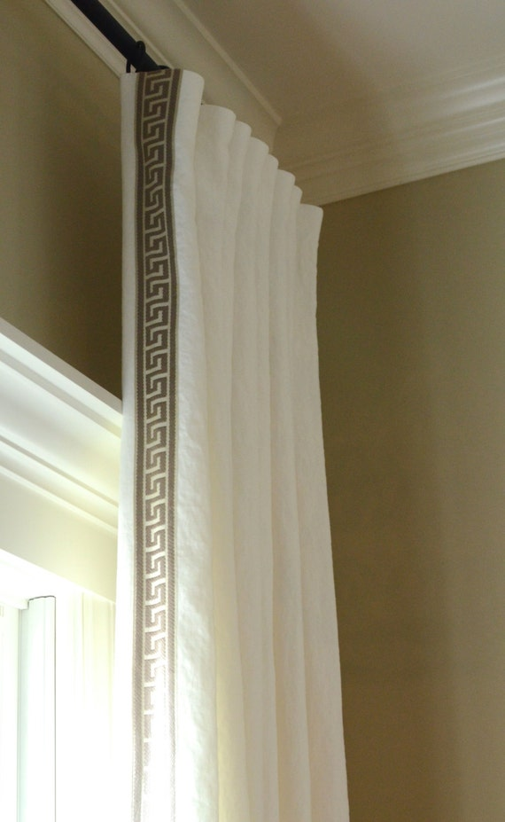 Custom Lined Linen Drapes with Greek Key Trim Pick any linen with any trim
