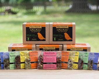 Tea Sampler Gift Set, caffeine, loose tea gift set, black tea, green tea, unique gift for yoga lover, great for the holiday season