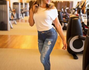 59456f2d23c7 Blue Workout Jeggings Women's Fake Ripped Jeans Back Pocket Faux Denim 3D  Art Sublimation Print Leggings Activewear by Mowaa Fitness Wear