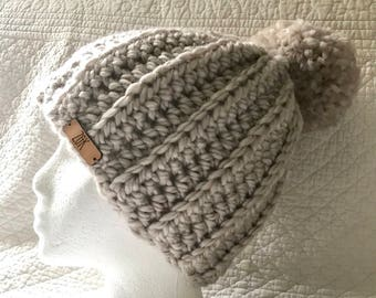 Handmade Crocheted Ribbed Hat With Large Pom Pom