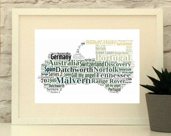 Land Rover Personalised Print -Landrover - Custom Print - Personalised Art - Car Picture - Land Rover Gift - Father's Day Gift PepperDoodles