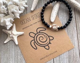 Volcanic Lava Rose Gold Bracelet,Onyx Beads,Sea Turtle Bead Multi Colored,Black Crystal Bead