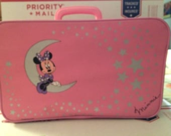 72bb960e90a5 Vintage Pink PVC Disney Minnie Mouse Child Size Suitcase Overnight Bag  Luggage