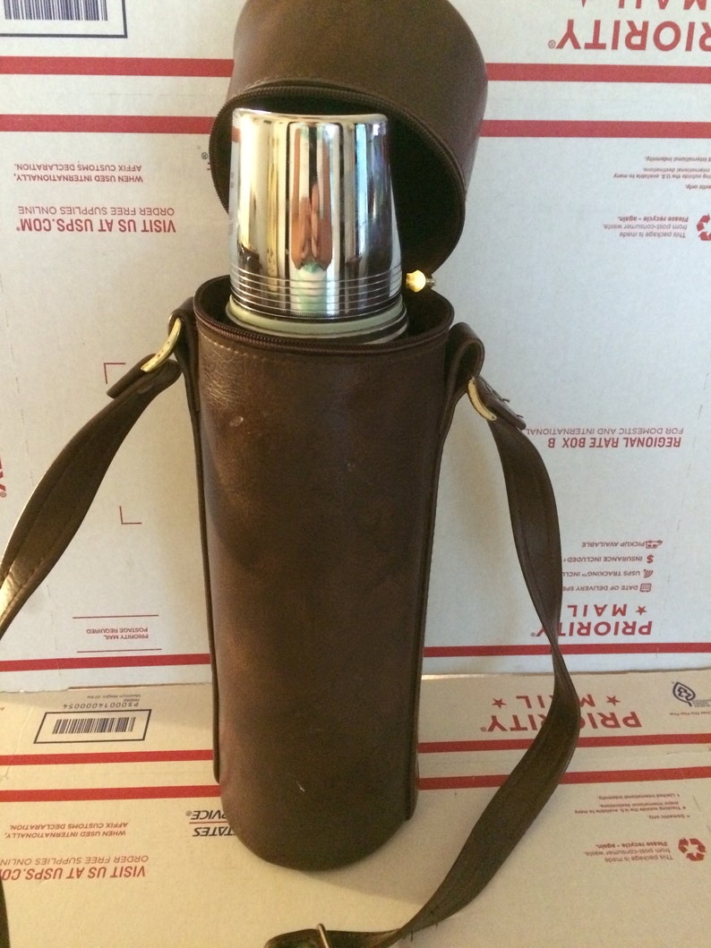 Vintage Industrial Thermos Green Aladdin Stanley Quart Thermos Bottle with  Carry Case A -944C