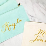 Bridesmaid Makeup Bag, Personalized Mrs Makeup Bag, Bridesmaid Gift, Personalized Pouch, Mint and Gold Canvas Bag, MANY COLORS