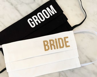 Bride Fabric Face Mask, Groom Fabric Face Mask, Bridesmaid Fabric Face Mask, Maid of Honor Face Mask, Best Man Face Mask, Bridal Party Masks