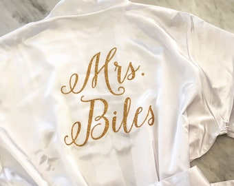 Bride Robe, Wedding Day Robe, Glitter Bridal Robe, Bride Satin Robe, Bridal Lingerie Shower Gift, Bridesmaid Robe, Personalized Robe